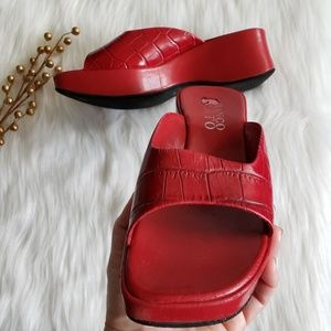 Franco Sarto red wedge sandals sz 6.5